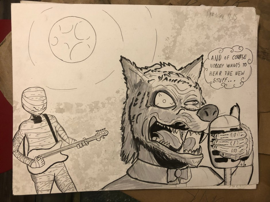 mummy and wolf performing